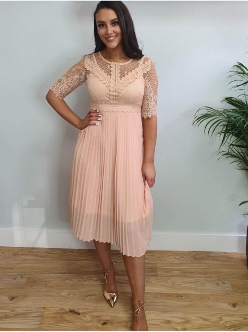 Kaitlin Nude Pink Peach Lace crochet bodice & pleated skirt midi dress