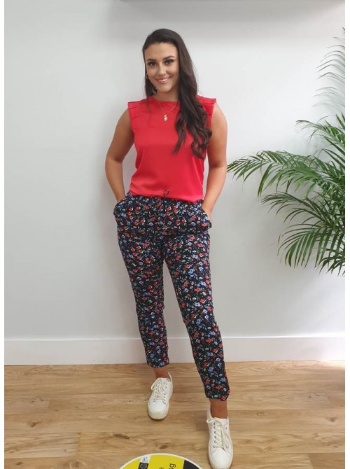 Piper black with red & blue floral print summer pants trousers pockets