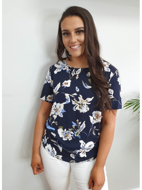 Remi Navy Flower Print Short Sleeves Blouse by b.young
