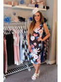 Jemma Black and Floral Multicoloured Sleeveless V-Neck Wrap Bodycon Dress