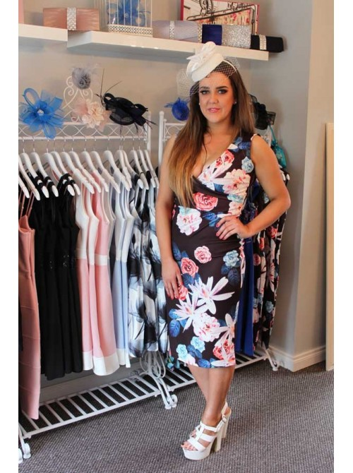 Jemma Black & Floral V-neck Bodycon | Free Delivery to UK and Ireland