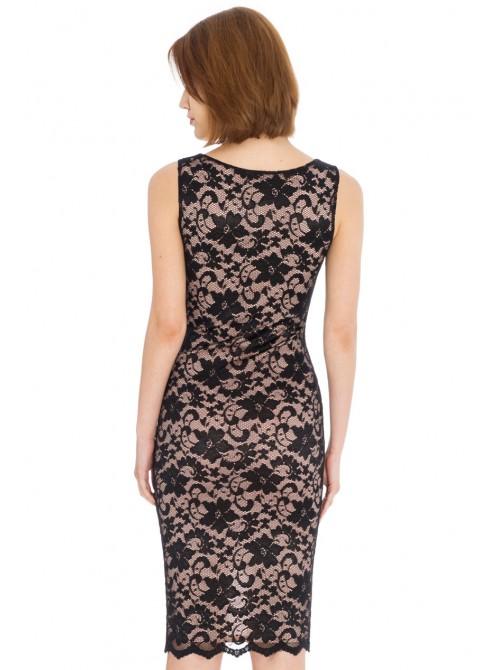 Clara Sleeveless Lace Wrap Front Dress