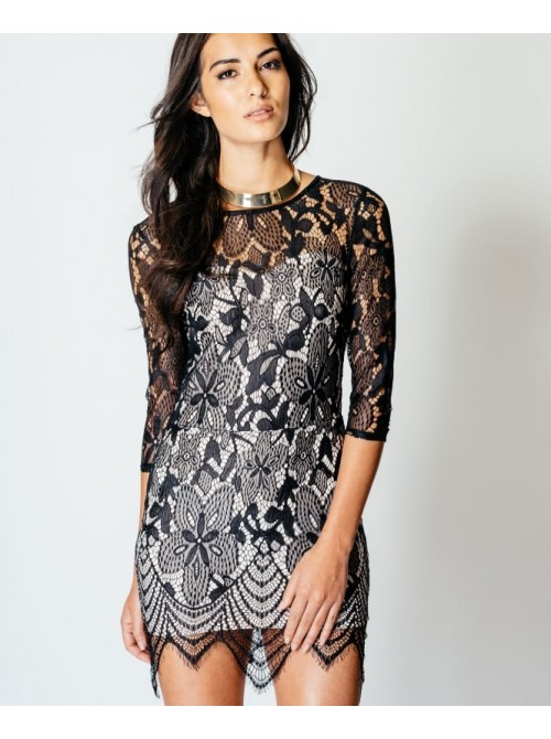 Leonie 3/4 Sleeve Lace Bodycon Mini Dress