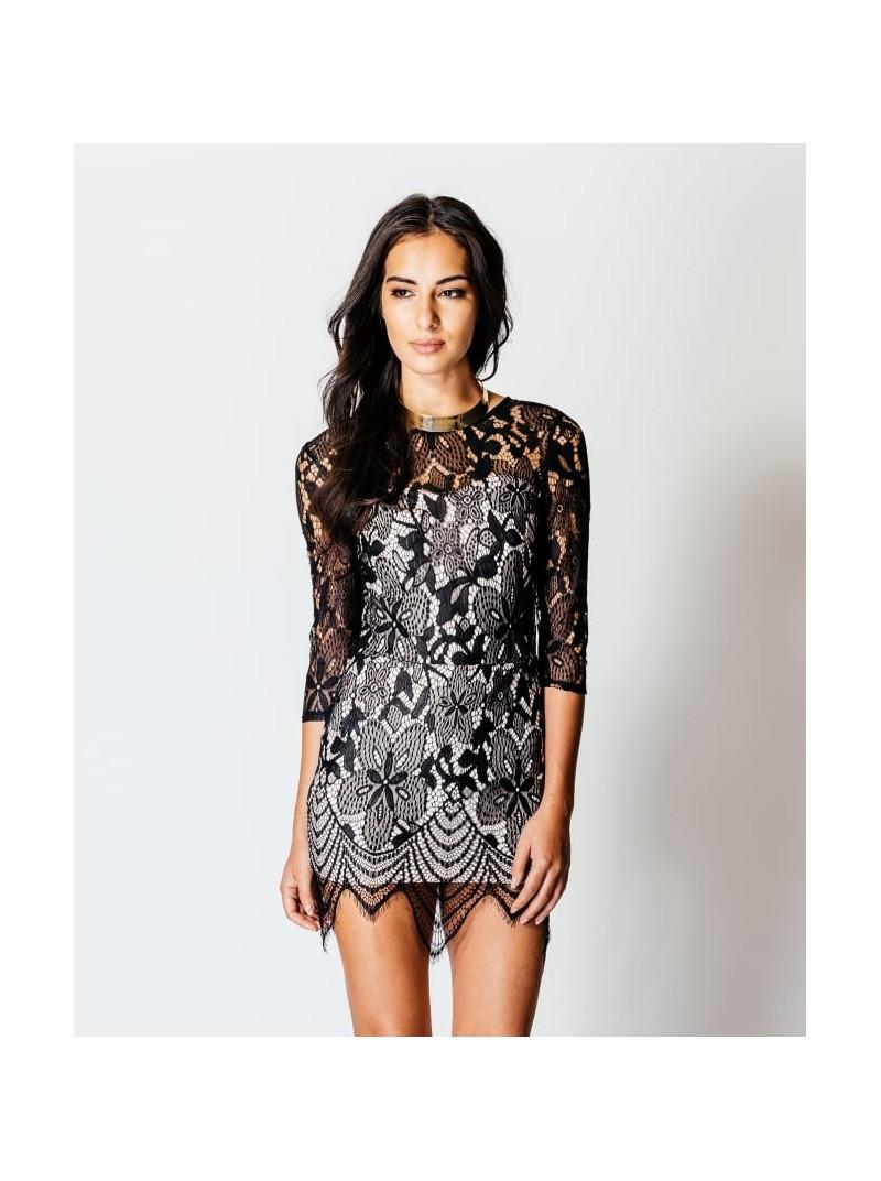 Leonie 3/4 Sleeve Lace Bodycon Mini Dress