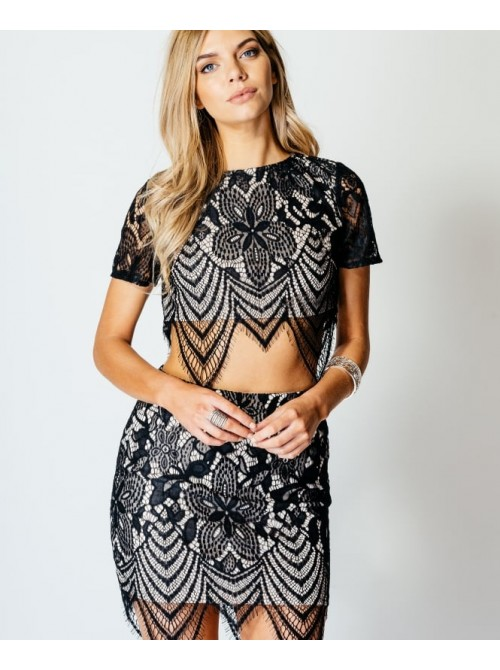 Zoe Co-ord Lace scallop hem crop top and mini skirt Set