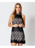 Jane Lace Contrast High Neck Double Strap back Dress