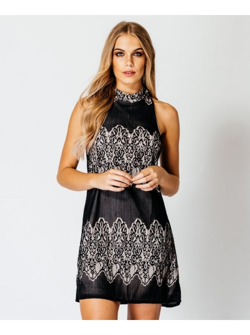 Jane Lace Contrast High Neck Double Strap back Dress