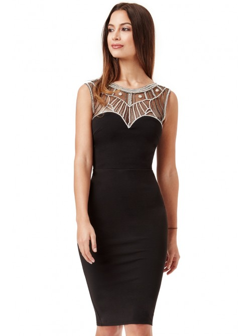 Kate Black Embellished Fitted Midi Dress