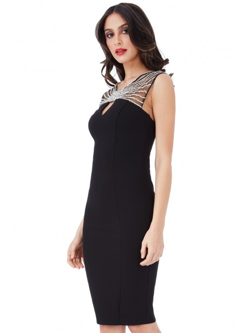Kayla Black Embellished Fitted Midi Bodycon Dress