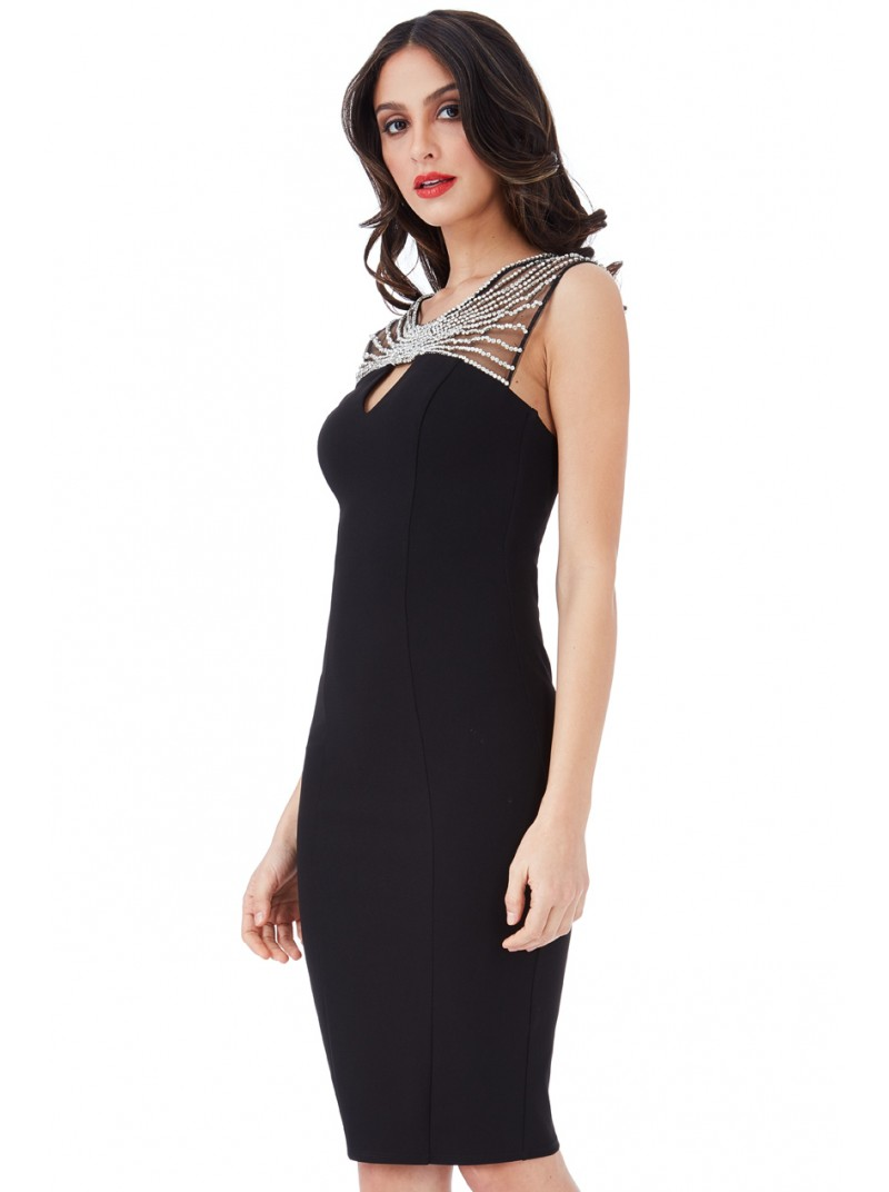 2dd84a08da14 Kayla Black Embellished Fitted Midi Dress